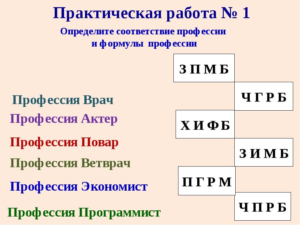 Определите соответствие профессии и формулы профессии Профессия Врач Професси...