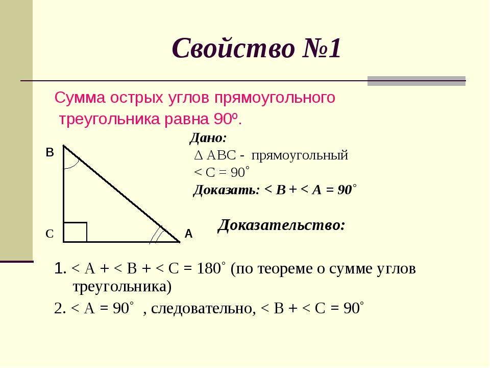 Свойство №1 Сумма острых углов прямоугольного треугольника равна 90º. Дано: Δ...