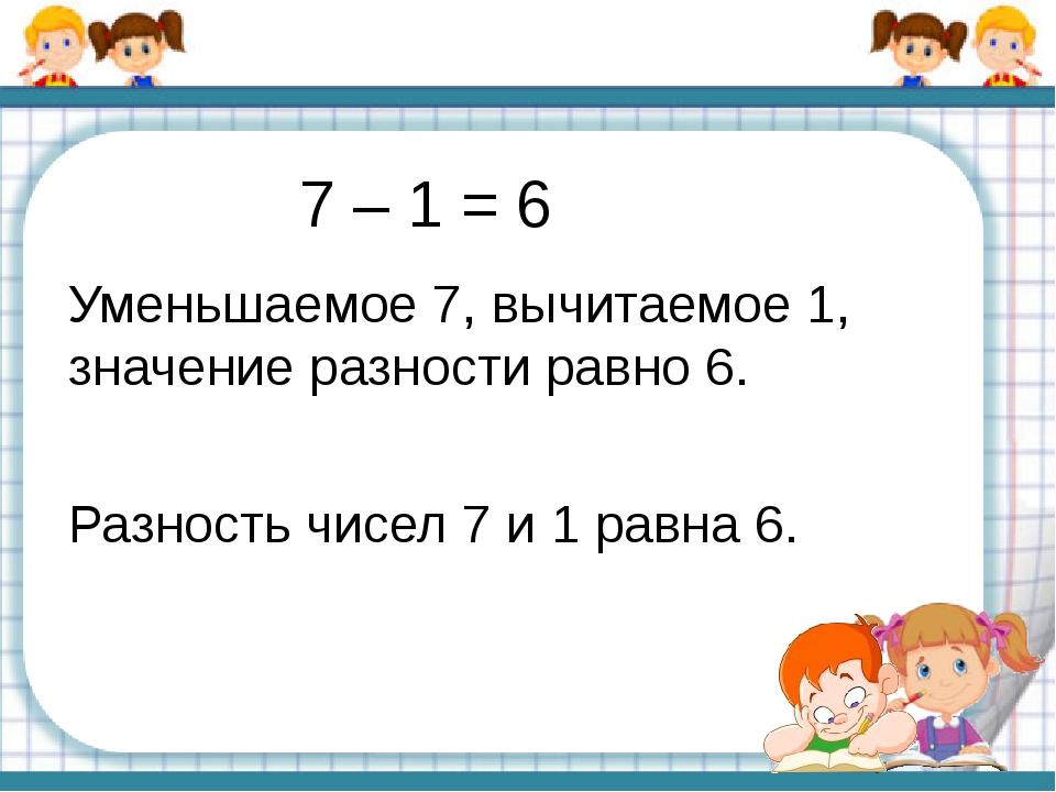 7 – 1 = 6 Уменьшаемое 7, вычитаемое 1, значение разности равно 6. Разность чи...