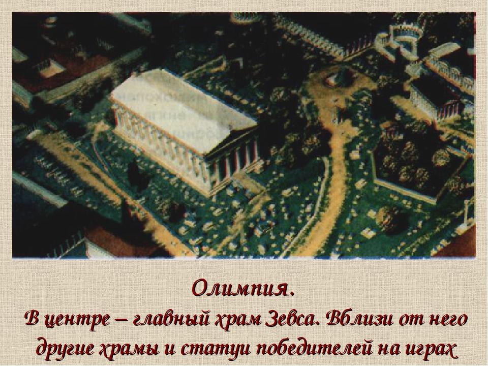 Олимпия. В центре – главный храм Зевса. Вблизи от него другие храмы и статуи...