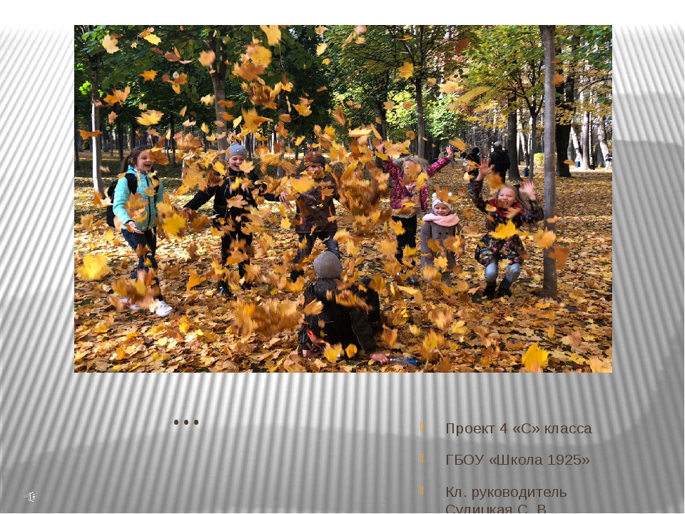 Осень… Проект 4 «С» класса ГБОУ «Школа 1925» Кл. руководитель Сулицкая С. В.