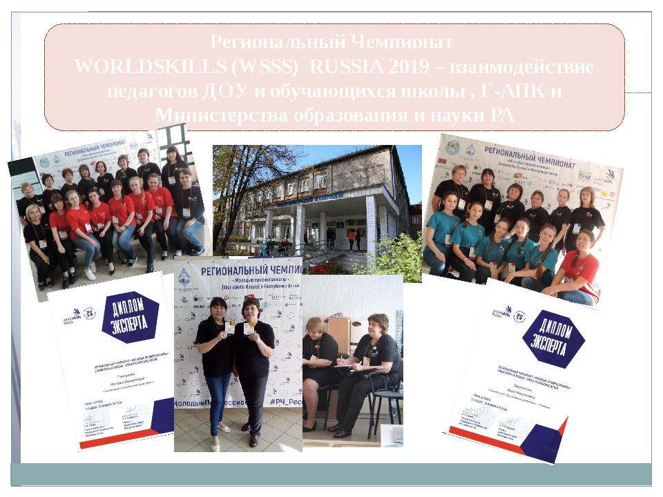 Региональный Чемпионат WORLDSKILLS (WSSS) RUSSIA 2019 – взаимодействие педаго...