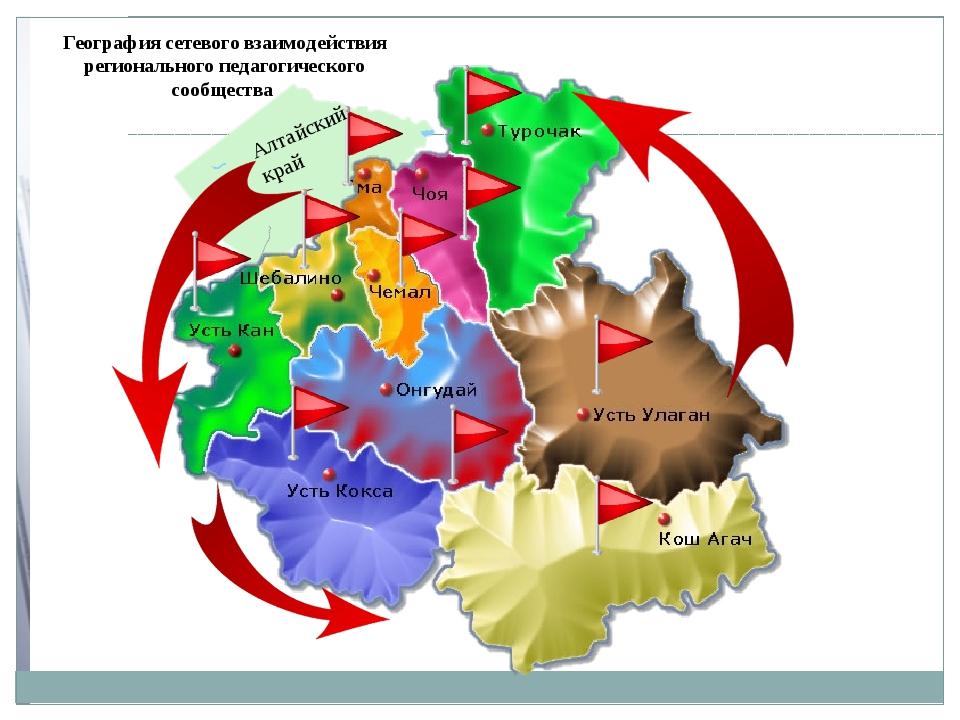 География сетевого взаимодействия регионального педагогического сообщества Ал...