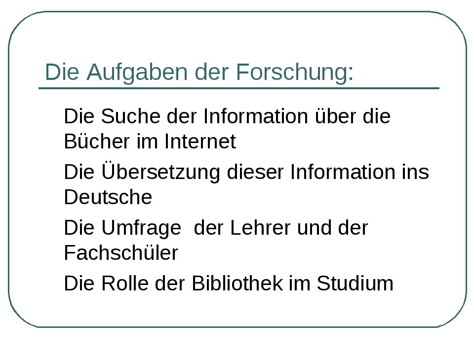 Die Aufgaben der Forschung: Die Suche der Information über die Bücher im Int...
