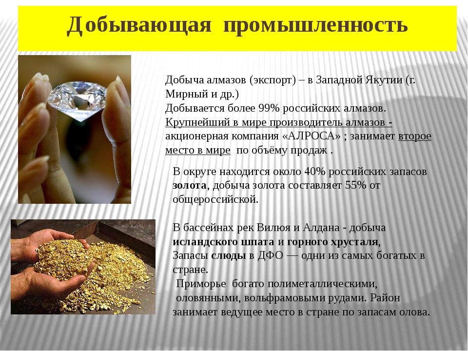 Добывающая промышленность Добыча алмазов (экспорт) – в Западной Якутии (г. Ми...