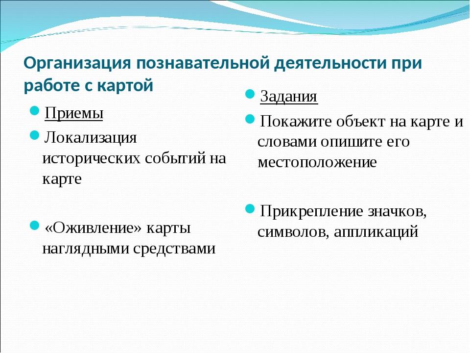 Организация познавательной деятельности при работе с картой Приемы Локализаци...