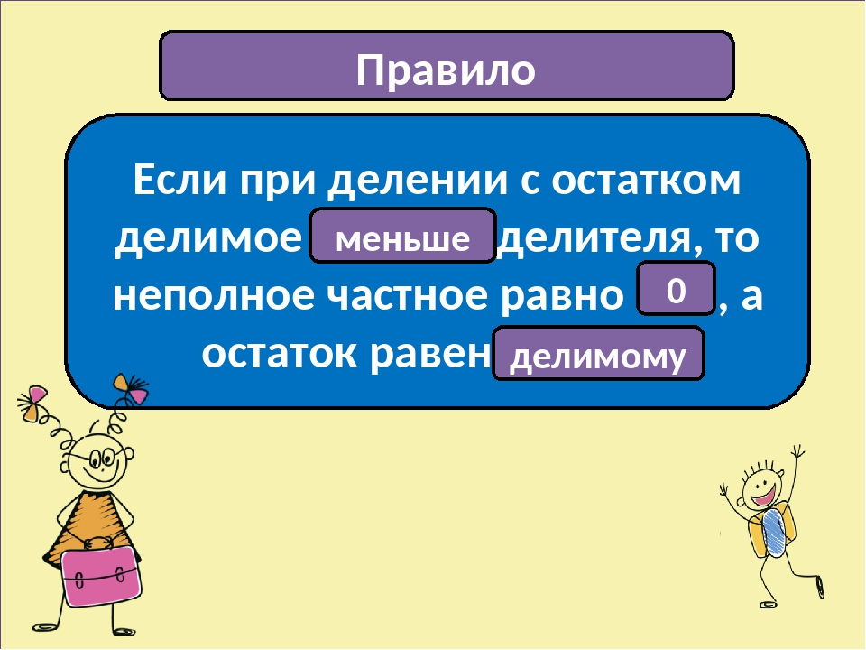 Правило Если при делении с остатком делимое …………… делителя, то неполное частн...