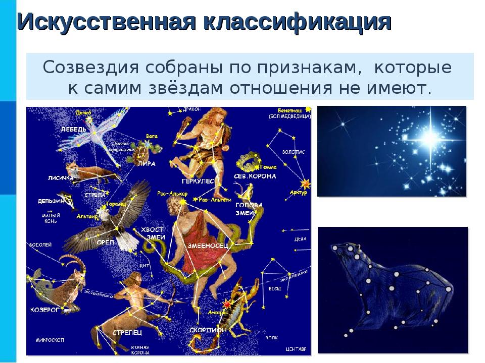 Искусственная классификация Созвездия собраны по признакам, которые к самим з...