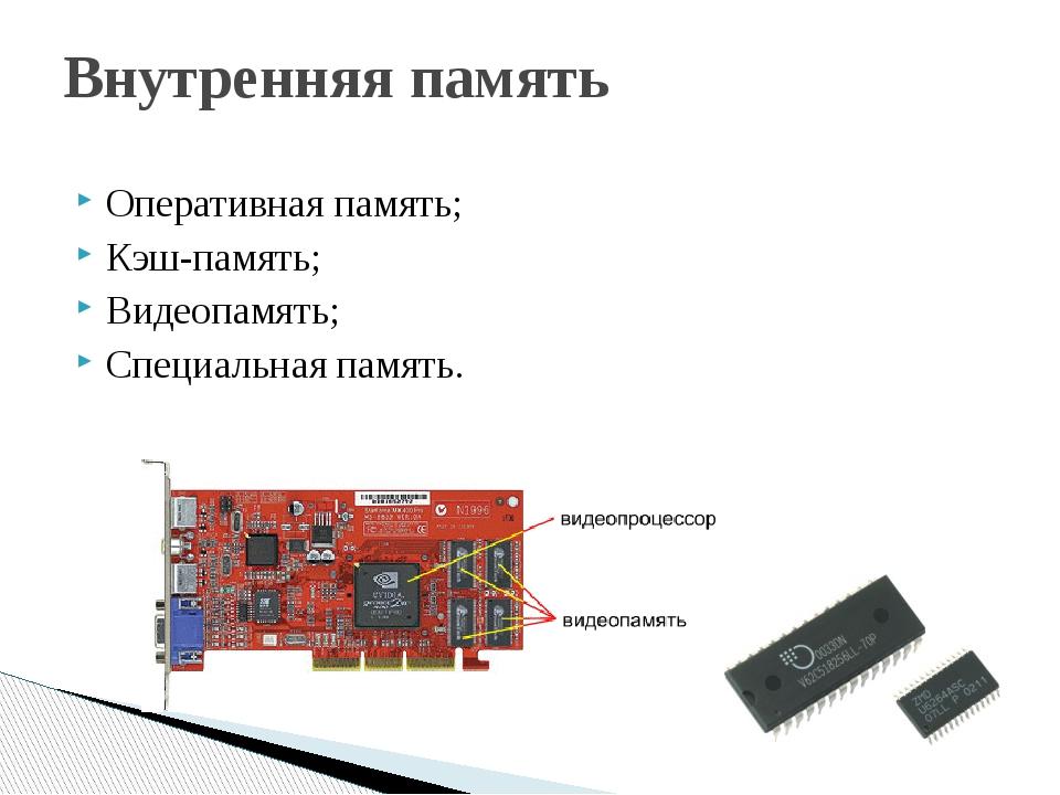 Внутренняя память Оперативная память; Кэш-память; Видеопамять; Специальная па...