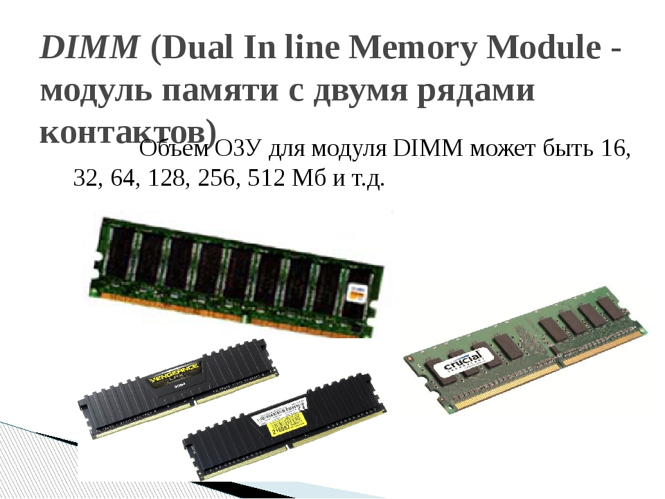 DIMM (Dual In line Memory Module - модуль памяти с двумя рядами контактов)...