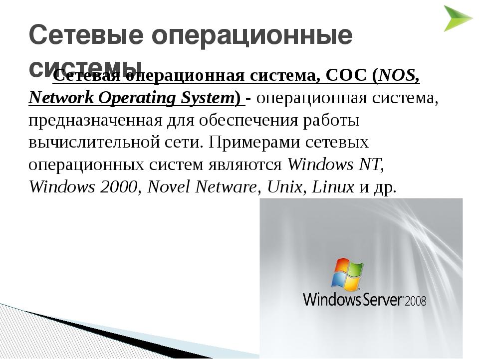 Сетевые операционные системы Сетевая операционная система, СОС (NOS, Network...