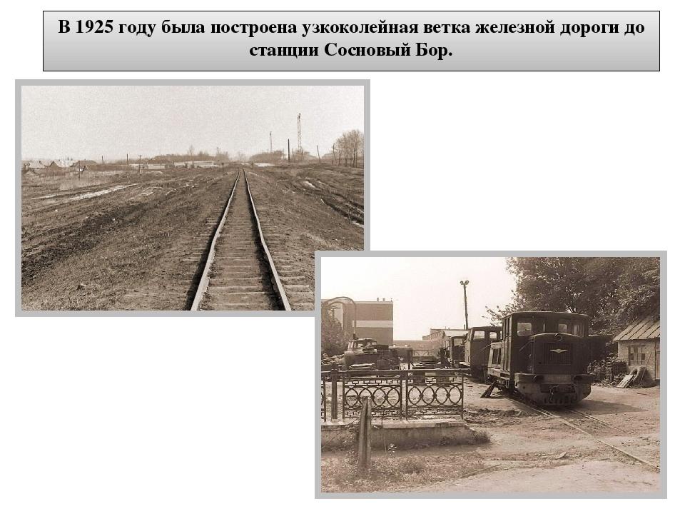 В 1925 году была построена узкоколейная ветка железной дороги до станции Сосн...