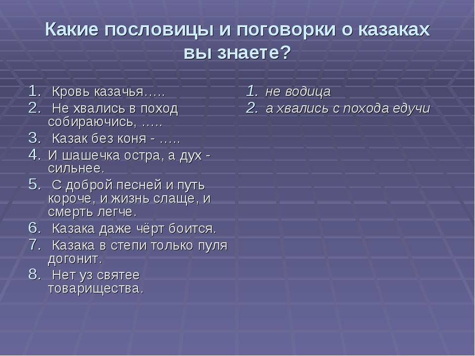 Какие пословицы и поговорки о казаках вы знаете? Кровь казачья….. Не хвались...