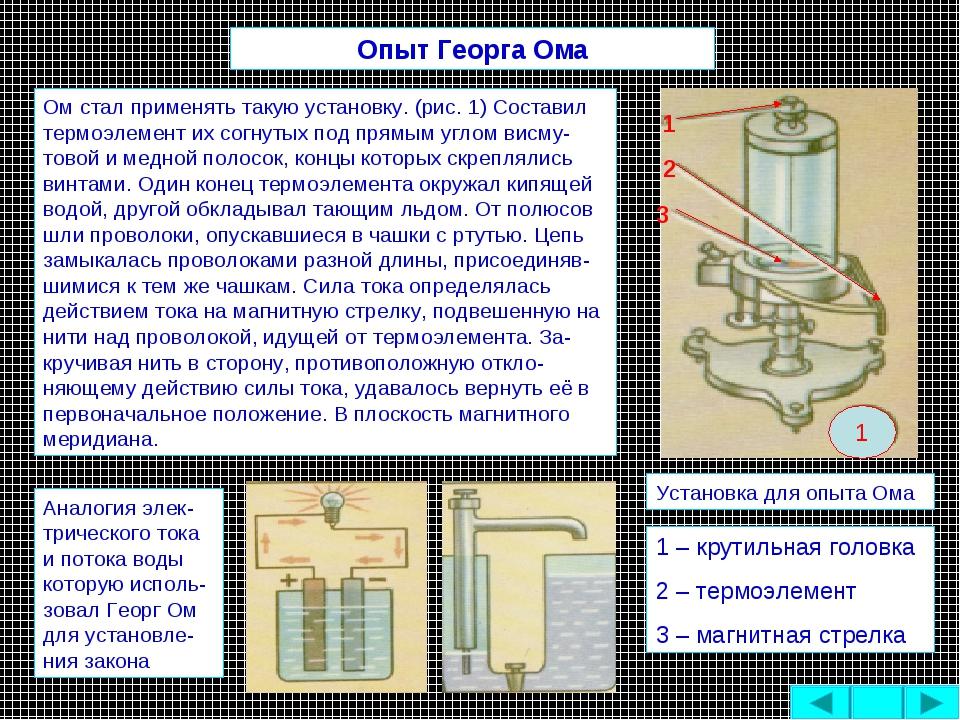 Ом стал применять такую установку. (рис. 1) Составил термоэлемент их согнутых...