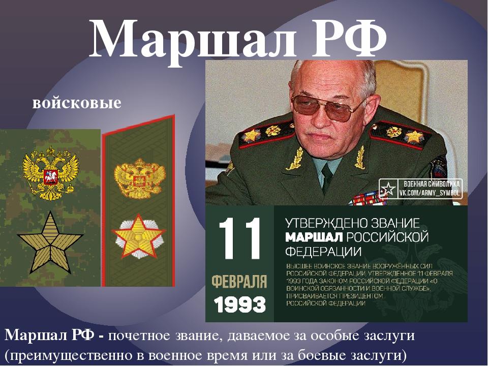 Маршалы российской федерации список