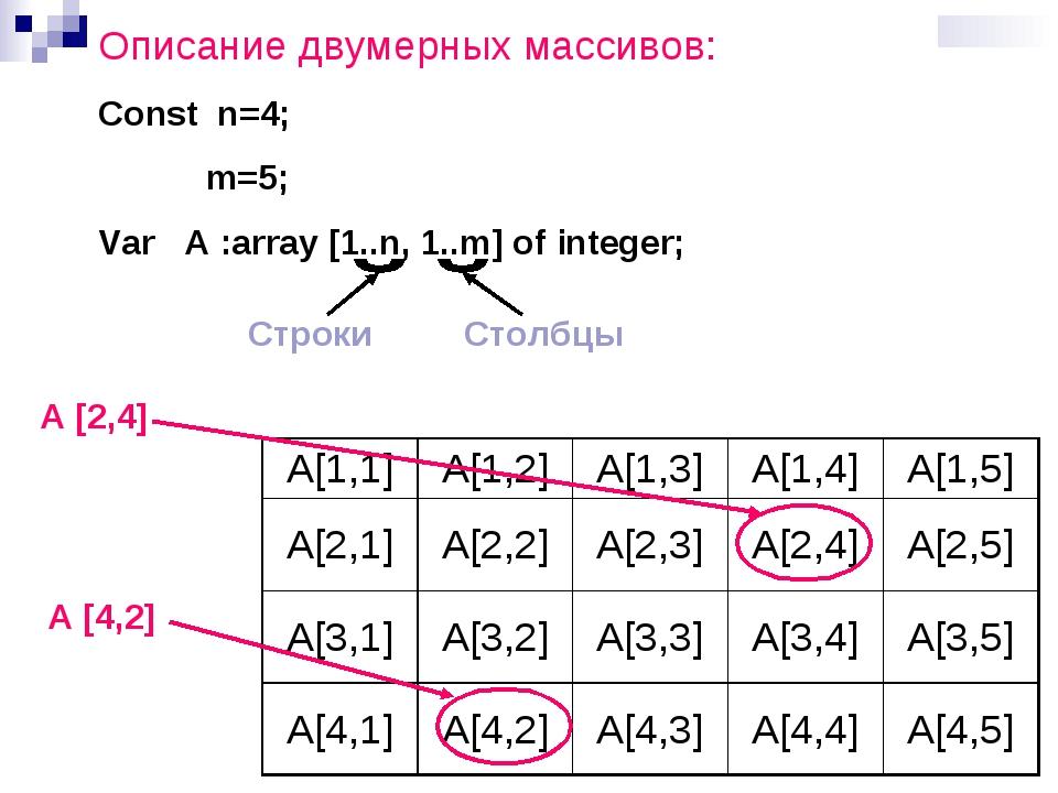 Описание двумерных массивов: Const n=4; m=5; Var A :array [1..n, 1..m] of int...