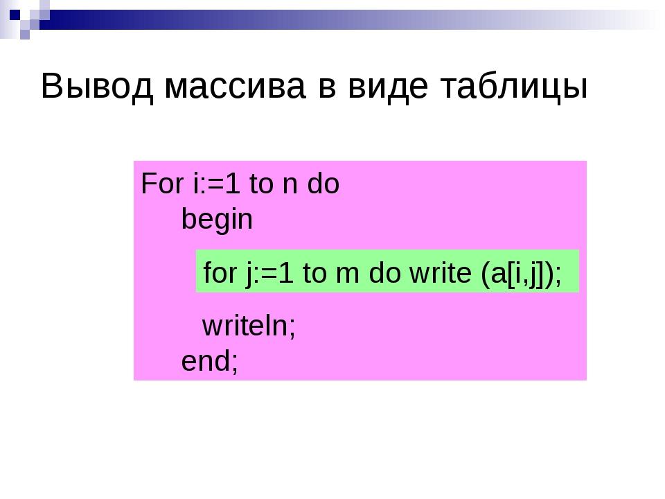 For i:=1 to n do begin writeln; end; for j:=1 to m do write (a[i,j]); Вывод м...