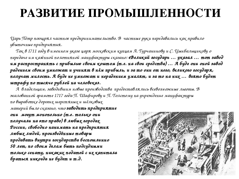 РАЗВИТИЕ ПРОМЫШЛЕННОСТИ Царь Пётр поощрял частное предпринимательство. В част...
