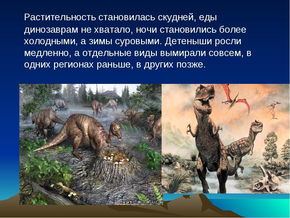 Растительность становилась скудней, еды динозаврам не хватало, ночи становил...