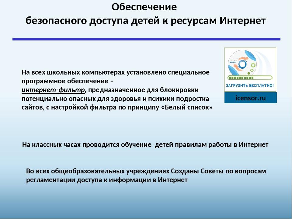 icensor.ru На всех школьных компьютерах установлено специальное программное...