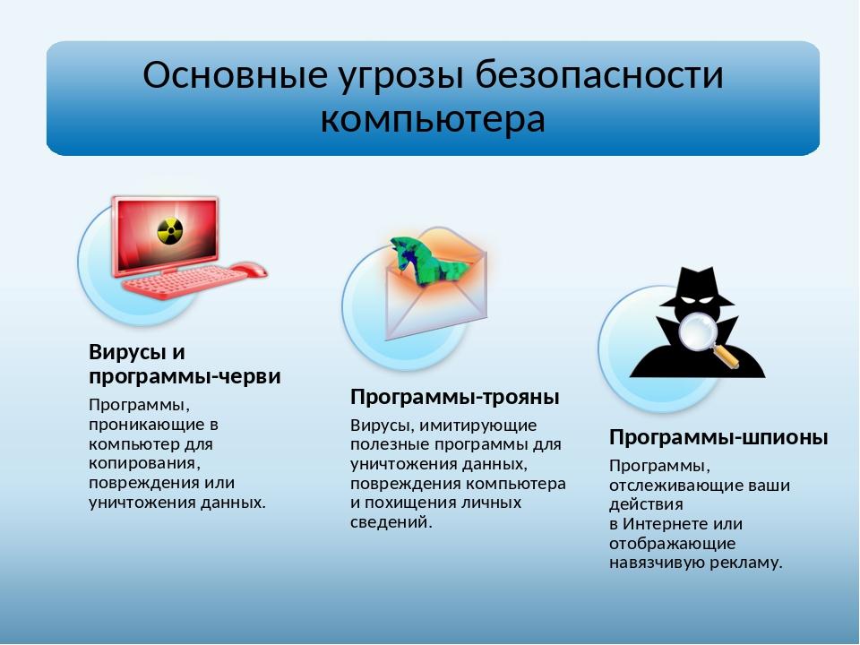 Вирусы и программы-черви Программы, проникающие в компьютер для копирования,...