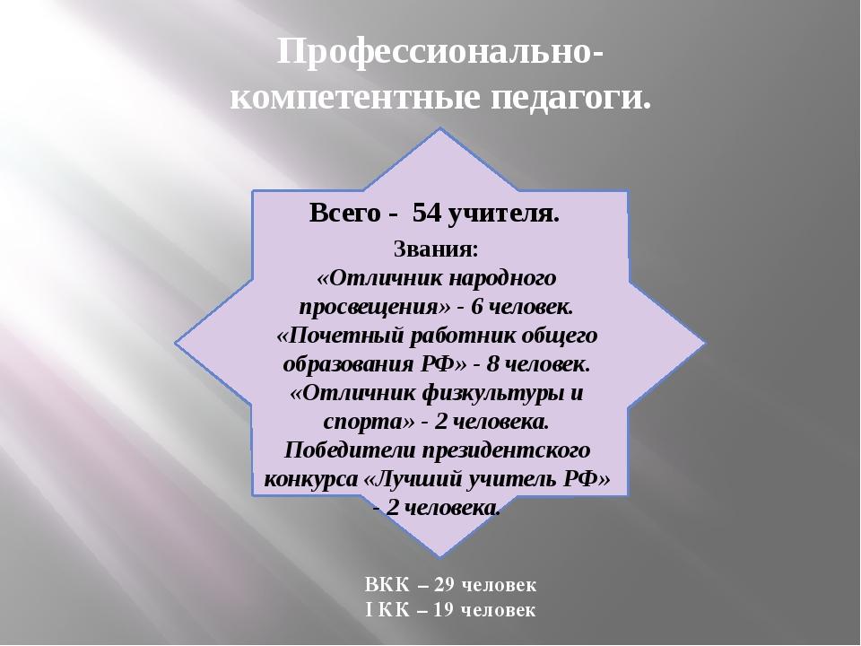 Профессионально-компетентные педагоги. ВКК – 29 человек I КК – 19 человек Все...