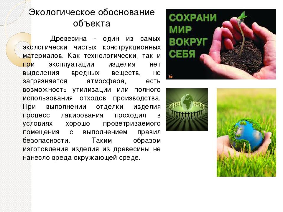 Экологическое обоснование объекта Древесина - один из самых экологически чист...