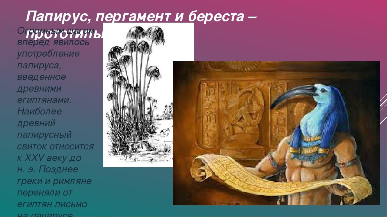 Папирус, пергамент и береста – прототипы бумаги. Огромным шагом вперед явилос...