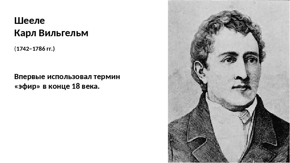 Шееле Карл Вильгельм (1742–1786 гг.) Впервые использовал термин «эфир» в конц...
