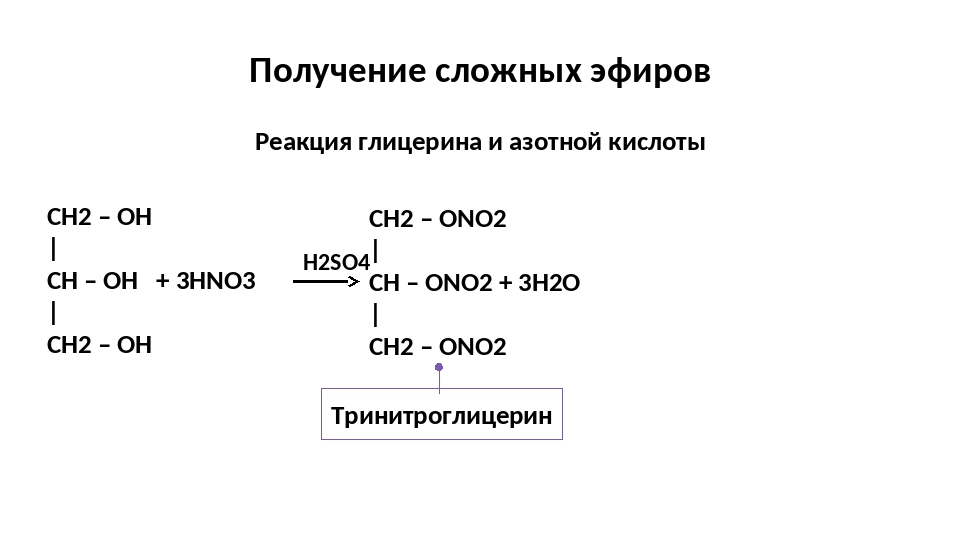 Получение сложных эфиров Реакция глицерина и азотной кислоты Тринитроглицерин...