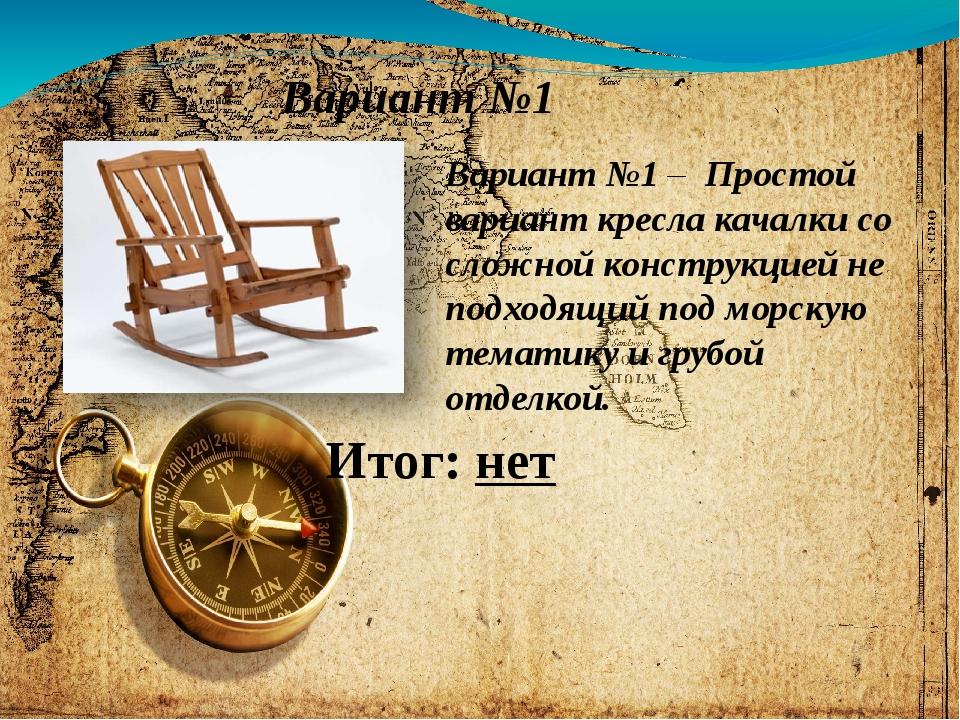 Вариант №1 Вариант №1 – Простой вариант кресла качалки со сложной конструкцие...