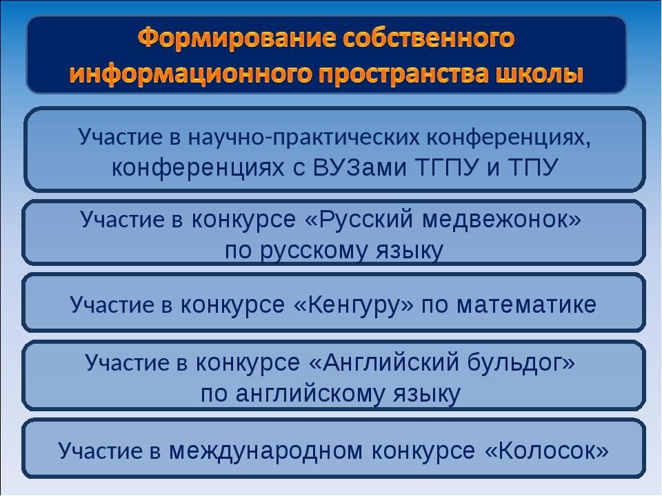 Участие в научно-практических конференциях, конференциях с ВУЗами ТГПУ и ТПУ...