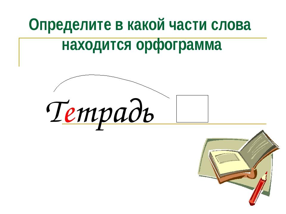 Определите в какой части слова находится орфограмма Тетрадь