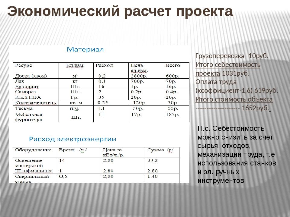 Экономический расчет проекта Грузоперевозка -10руб. Итого себестоимость проек...