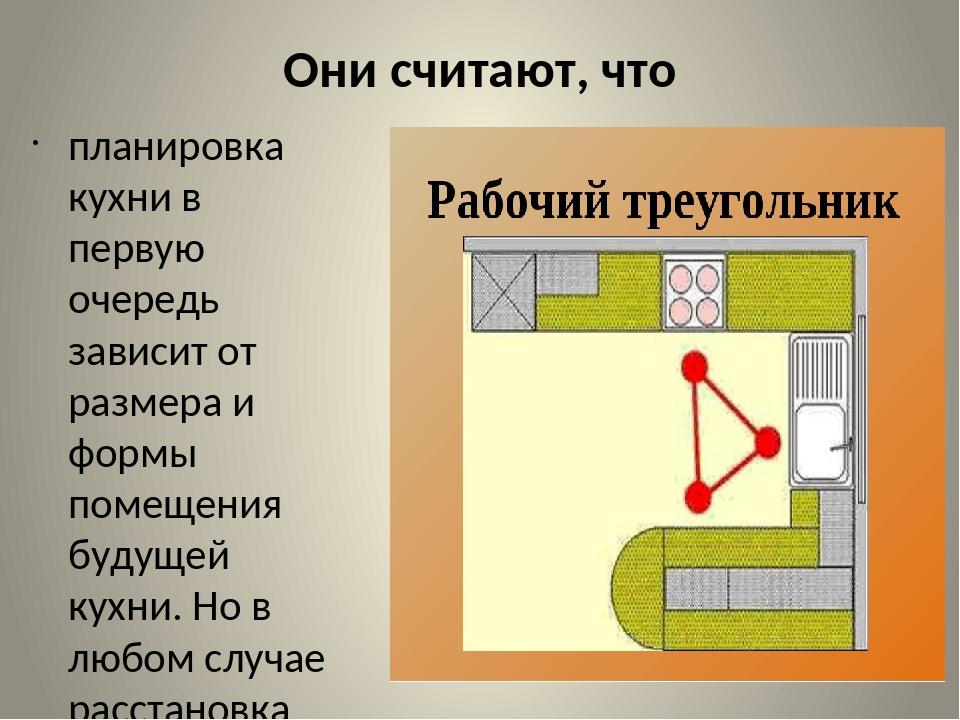 Они считают, что планировка кухни в первую очередь зависит от размера и формы...