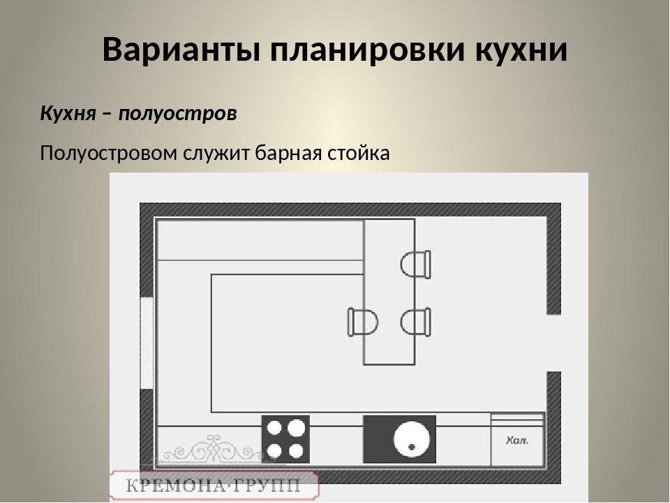 Варианты планировки кухни Кухня – полуостров Полуостровом служит барная стойка