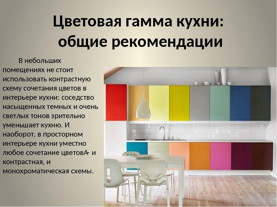 Цветовая гамма кухни: общие рекомендации В небольших помещениях не стоит испо...