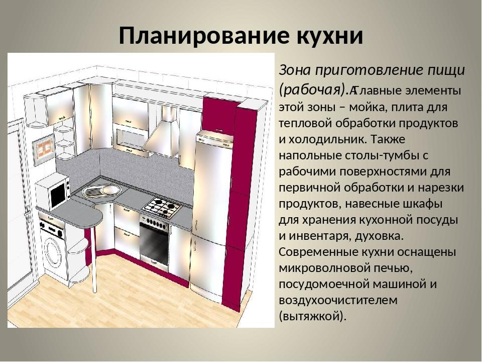 Планирование кухни Зона приготовление пищи (рабочая).Главные элементы этой з...