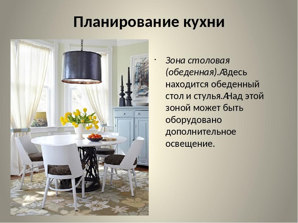 Планирование кухни Зона столовая (обеденная).Здесь находится обеденный стол...