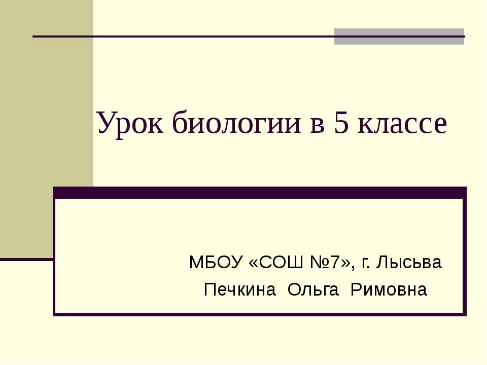 Урок биологии в 5 классе МБОУ «СОШ №7», г. Лысьва Печкина Ольга Римовна