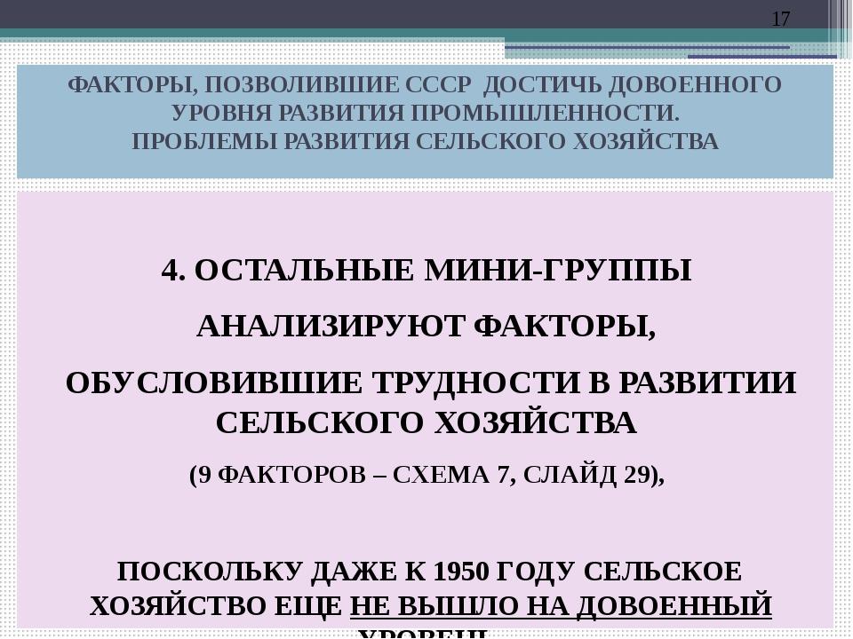 ФАКТОРЫ, ПОЗВОЛИВШИЕ СССР ДОСТИЧЬ ДОВОЕННОГО УРОВНЯ РАЗВИТИЯ ПРОМЫШЛЕННОСТИ....