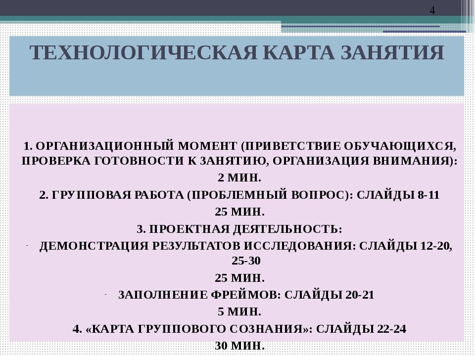 ТЕХНОЛОГИЧЕСКАЯ КАРТА ЗАНЯТИЯ 1. ОРГАНИЗАЦИОННЫЙ МОМЕНТ (ПРИВЕТСТВИЕ ОБУЧАЮЩИ...