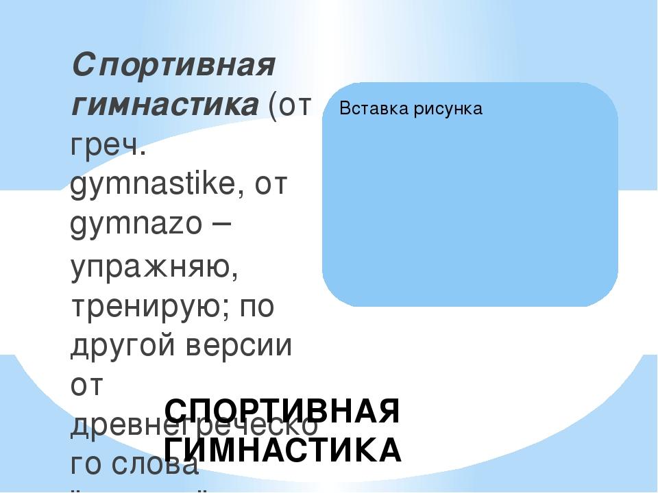 Спортивная гимнастика (от греч. gymnastike, от gymnazo – упражняю, тренирую;...