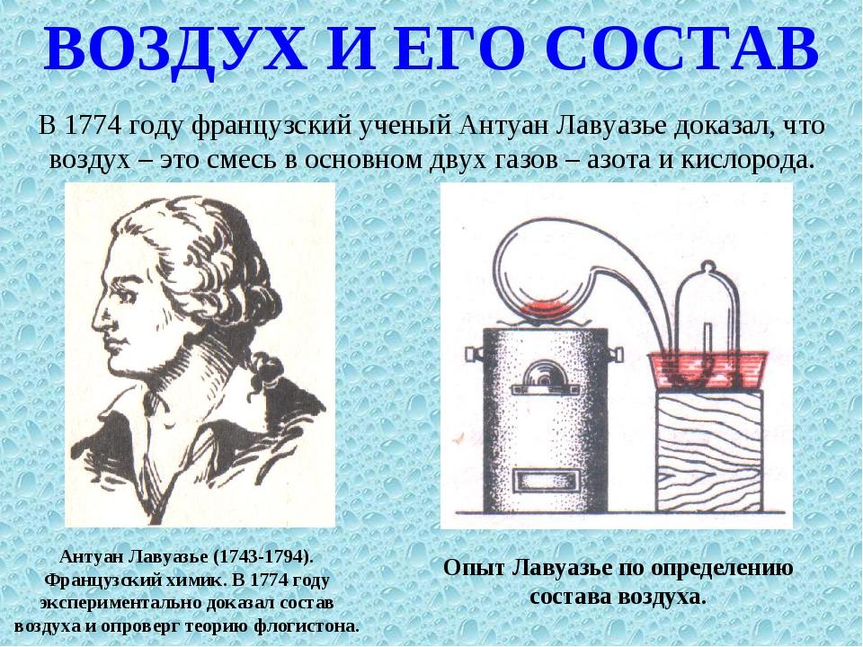 ВОЗДУХ И ЕГО СОСТАВ В 1774 году французский ученый Антуан Лавуазье доказал, ч...