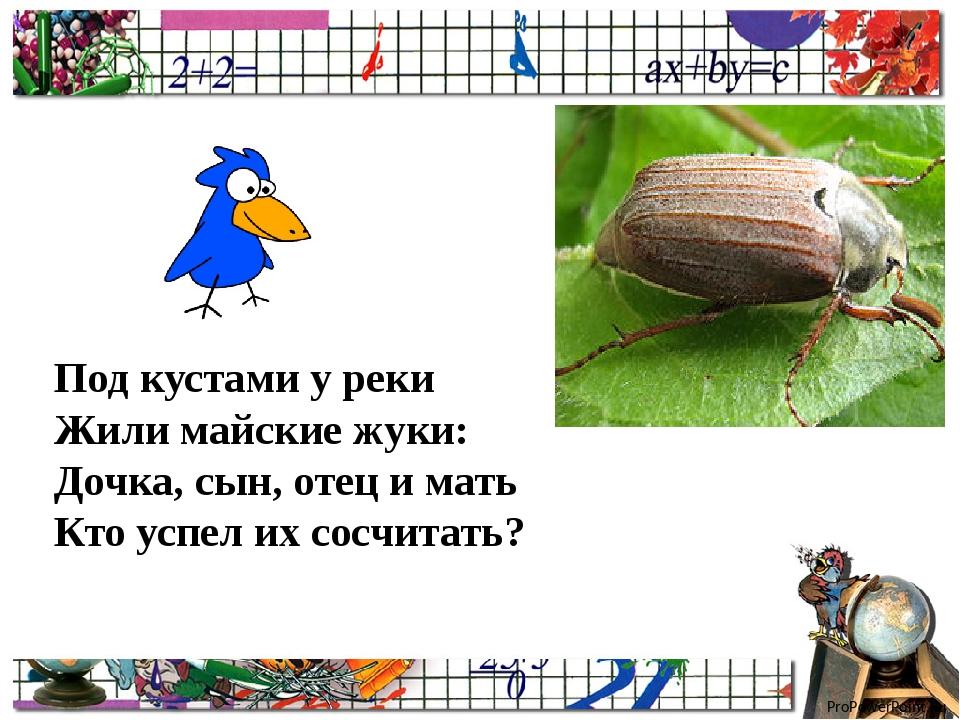 Под кустами у реки Жили майские жуки: Дочка, сын, отец и мать Кто успел их с...