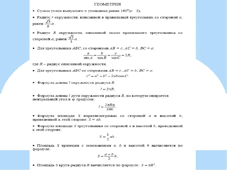Справочные материалы на экзамене по математике