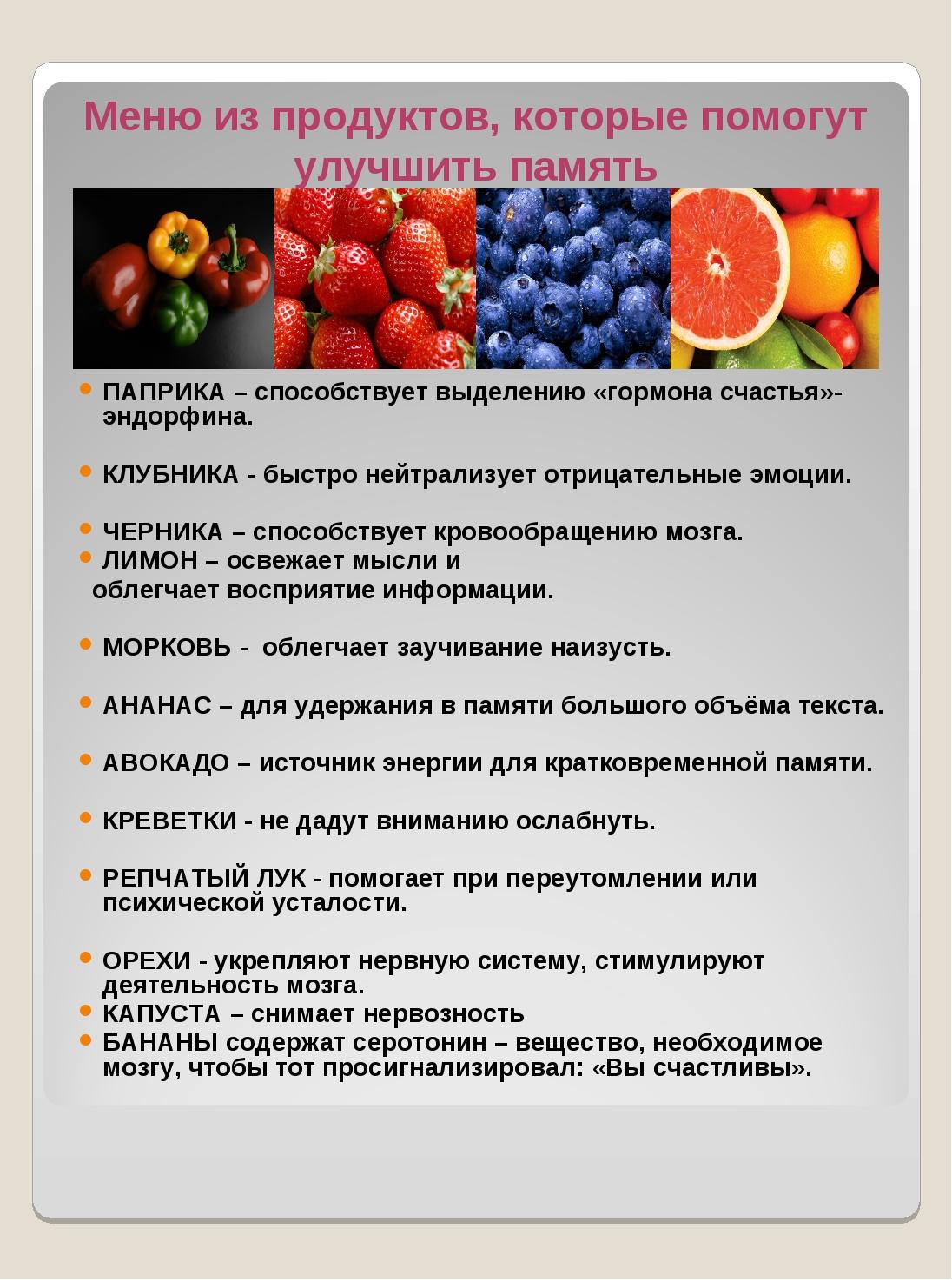 ПАПРИКА – способствует выделению «гормона счастья»- эндорфина. КЛУБНИКА - бы...
