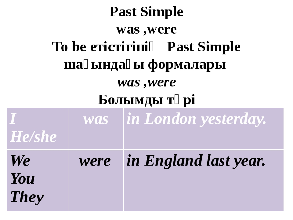 Past Simple was ,were To be етістігінің Past Simple шағындағы формалары was ,...