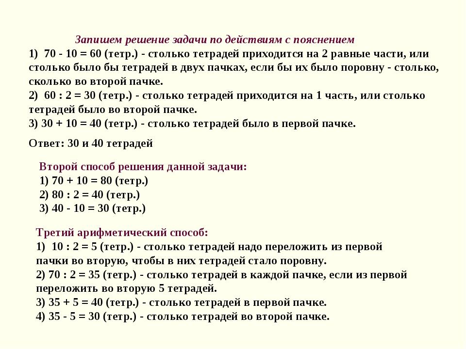 Запишем решение задачи по действиям с пояснением 1) 70 - 10 = 60 (тетр.) - с...