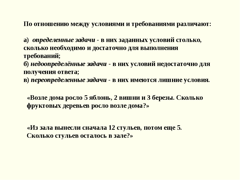 По отношению между условиями и требованиями различают: а) определенные задачи...